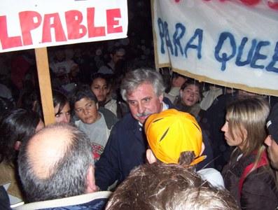 Casaretto recibio en su casa a los manifestantes