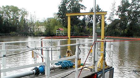 Toma de agua de AYSA en Dique Luján (Tigre)