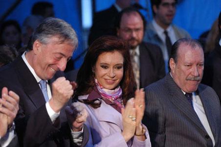 Amieiro recibe al Presidante Kirchner. más atrás Daniel Scioli