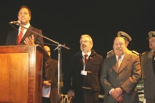 el Vicepresidente de la Nación, Daniel Scioli, el Intendente de San Fernando, Osvaldo Amieiro, y el Presidente de CACEL (Cámara Argentina de Constructores de Embarcaciones Livianas), Carlos Farré.