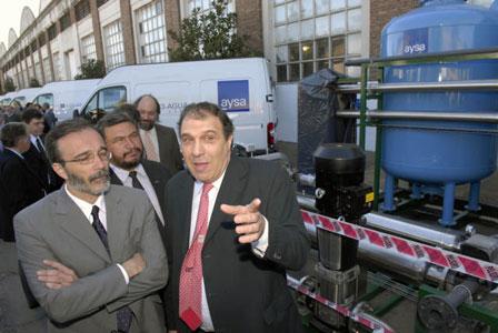 El presidente de AySA Carlos Ben (izq.) y Fabián López Subsecretario de Recursos Hídricos