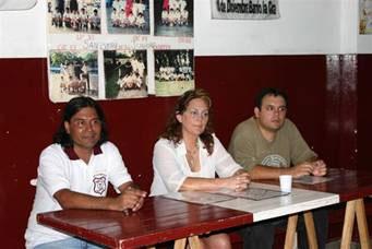Claudio Jiménez, Zulema Musi y Cristian Rompani durante el acto de  firma del convenio