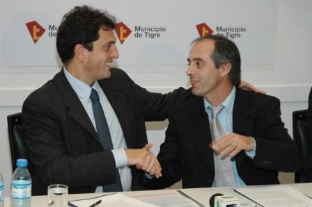 El Intendente de Tigre, Sergio Massa y el Secretario de Deportes de la Nación, Claudio Morresi