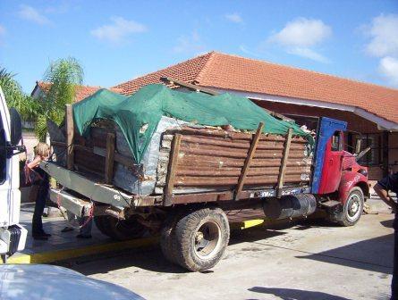 Uno de los camiones secuestrados en los operativos