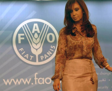 Cristina afirmó que la mala distribución es la principal causa de la escasez de alimentos en el mundo