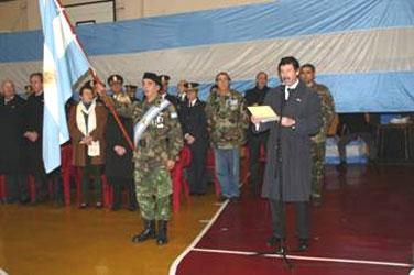 Gustavo Posse, al presidir hoy el acto de homenaje a Manuel Belgrano.