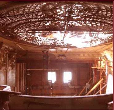 Foto de los trabajos de restauración en el Teatro Tamagni