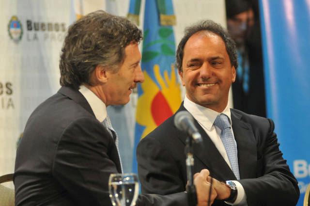 El jefe de Gobierno porteño, Mauricio Macri, y su par bonaerense, Daniel Scioli