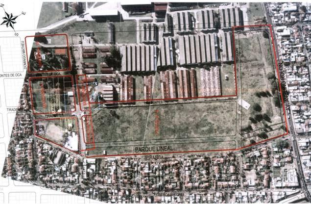 Vista del área que abarca el proyecto de reestructuración urbana en terrenos que fueran del Arsenal de Boulogne, con parques y apertura de calles