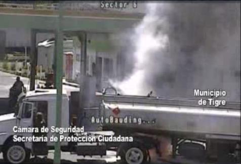 Las cámaras de seguridad de Tigre detectan un accidente en una estación de servicio