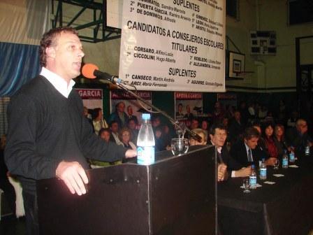 Gnoffo abrió acto de García en Olivos