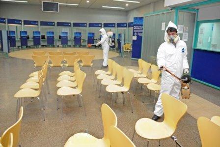 Desinfección en oficinas públicas de la provincia