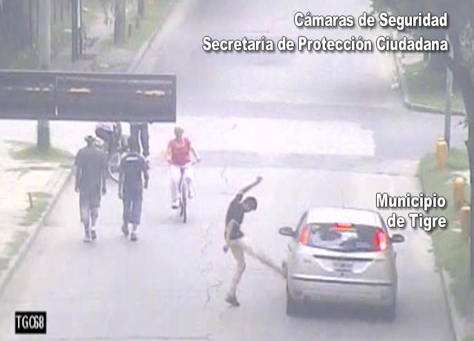 Las cámaras de seguridad de Tigre atraparon a joven descontrolado por el alcohol
