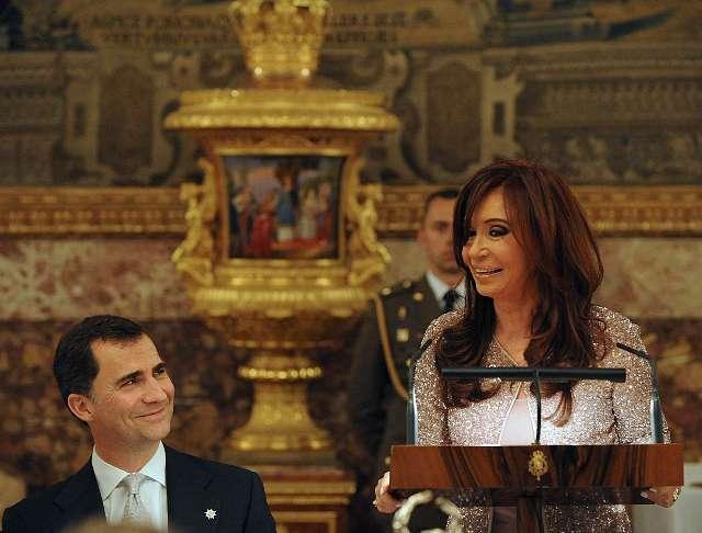 La presidenta Cristina Fernández, oradora en representación de sus pares en la cena oficial que la Casa Real de España