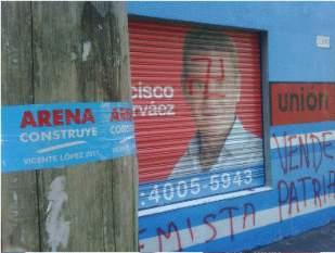 Destrozan y pintan una esvástica en local partidario de De Narváez