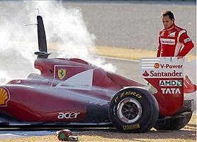 Massa quemó el motor de la nueva Ferrari en Valencia