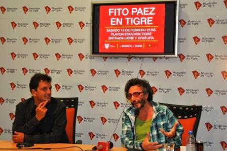 El Intendente de Tigre, Sergio Massa, junto al prestigioso cantante Fito Páez, realizaron hoy una conferencia de prensa para anuciar el show que se realizará en Tigre.