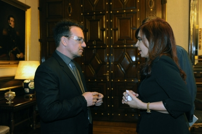 Bono se reunió con la presidenta Cristina Fernández