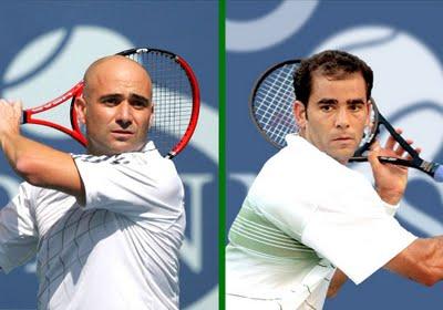 dos grandes del tenis mundial, André Agassi y Pete Sampras