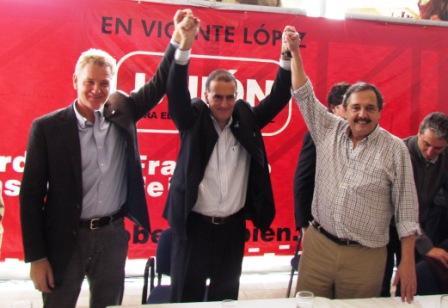 Alfonsín y De Narváez junto a Erro en la presentación de su lista
