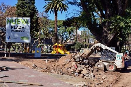 Avanzan las obras de la Plaza Dorrego de San Fernando