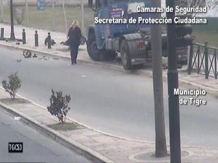 Un camionero borracho fue atrapado por las cámaras de Tigre