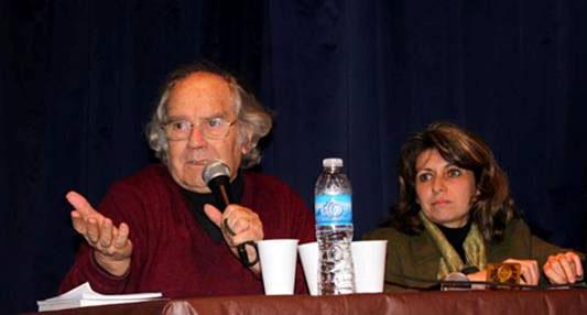 Adolfo Pérez Esquivel y la titular del Congreso, Gabriela Giurlani