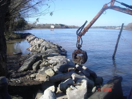 Avanza la construcción de la defensa costera de la Isla del Club San Fernando