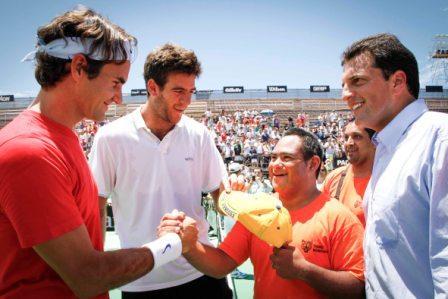 Federer y Del Potro jugaron con los chicos de Tigre