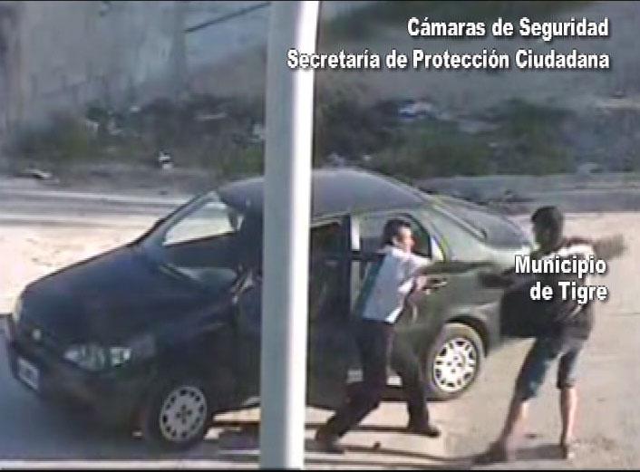 Las cámaras de Tigre atrapan a un delincuente que intentó robar a un automovilista