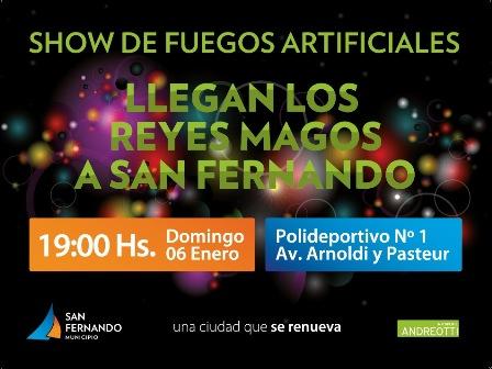 Visita de los Reyes Magos a San Fernando y show de fuegos artificiales para toda la familia