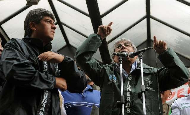 Hugo Moyano, encabezó hoy una nueva protesta contra el Gobierno nacional
