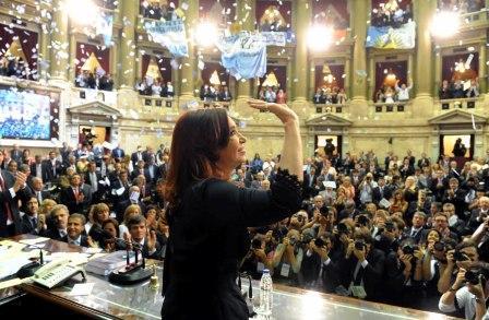 La presidenta Cristina Fernández inauguró hoy las sesiones ordinarias del Congreso Nacional