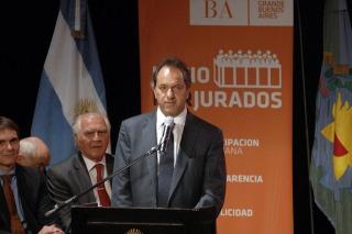 Daniel Scioli en la puesta en marcha de la ley de Juicio por Jurados