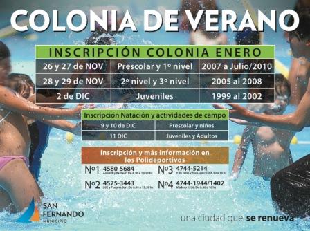 """Comienzan las inscripciones para las """"Colonias de Verano 2014"""", en San Fernando"""