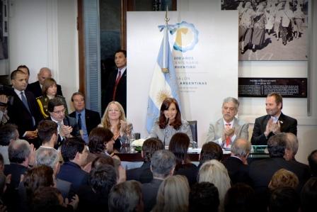 Cristina Fernandez al encabezar un acto en Casa de Gobierno donde presentó el plan Recuperar inclusión