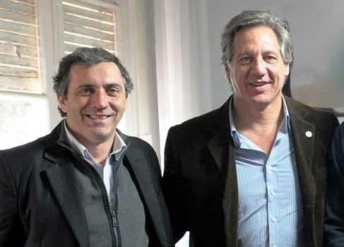 El titular de Arba, Iván Budassi junto al responsable de las relaciones institucionales del organismo, Ariel Notta.