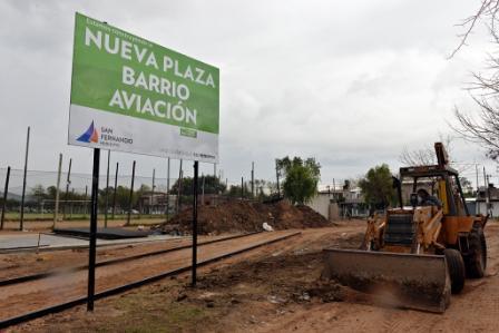 Ya está en marcha la construcción de una nueva plaza en el Barrio Aviación de San Fernando