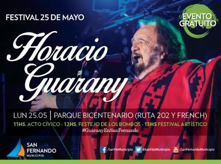 Horacio Guarany se presentará en San Fernando, en una gran fiesta de 25 de Mayo