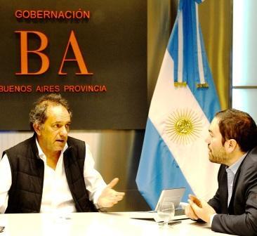 Matías Molle y Daniel Scioli se reunieron en las oficinas del Banco Provincia