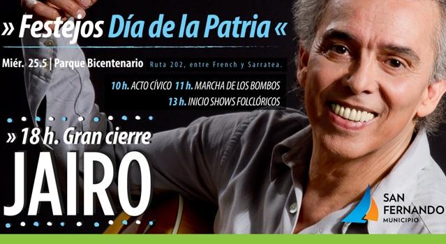 Show gratuito de Jairo para celebrar el Día de la Patria en San Fernando