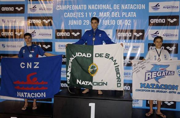 Kevin Díaz Wurg, integrante del Equipo Municipal de Natación, logró nuevas marcas federales en los 50, 100 y 200 metros pecho en el Campeonato Nacional de Natación que se llevó a cabo en Mar del Plata.