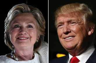 Hillary Clinton y Donald Trump en reñido duelo electoral