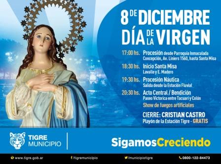 Tigre prepara una gran celebración por el Día de la Virgen