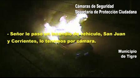 Detienen a dos pirómanos, luego de incendiar un vehículo en Tigre