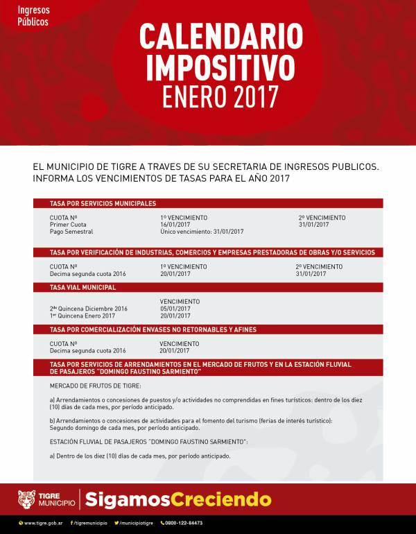 Tigre comunica el calendario impositivo de enero.