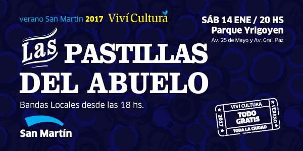 Las Pastillas del Abuelo tocará gratis en el Parque Yrigoyen.