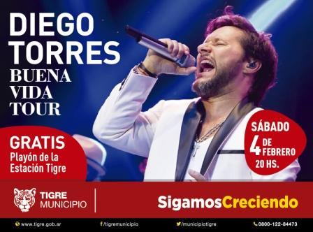"Diego Torres llega a Tigre con ""Buena Vida Tour"""