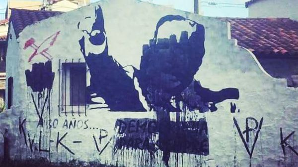 Así quedó el mural del ex presidente Ricardo Alfonsín