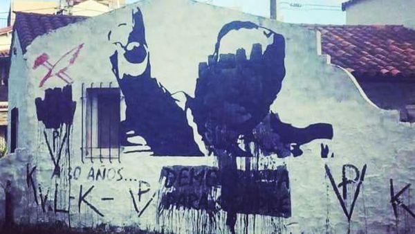 Vandalizaron un mural de Raúl Alfonsín en Vicente López